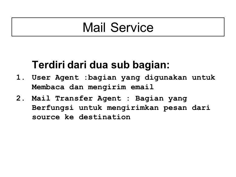 Mail Service Terdiri dari dua sub bagian: 1.User Agent :bagian yang digunakan untuk Membaca dan mengirim email 2.Mail Transfer Agent : Bagian yang Berfungsi untuk mengirimkan pesan dari source ke destination