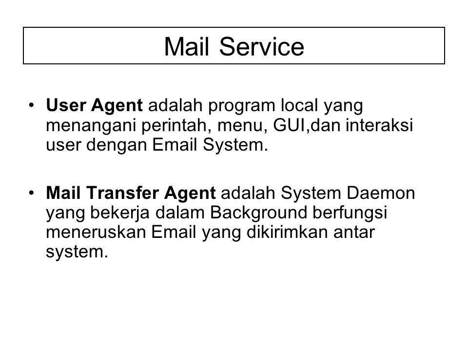 User Agent adalah program local yang menangani perintah, menu, GUI,dan interaksi user dengan Email System.