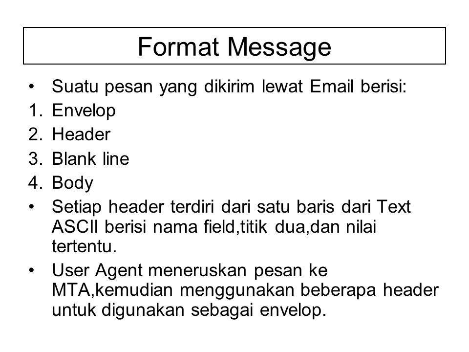 Format Message Suatu pesan yang dikirim lewat Email berisi: 1.Envelop 2.Header 3.Blank line 4.Body Setiap header terdiri dari satu baris dari Text ASCII berisi nama field,titik dua,dan nilai tertentu.