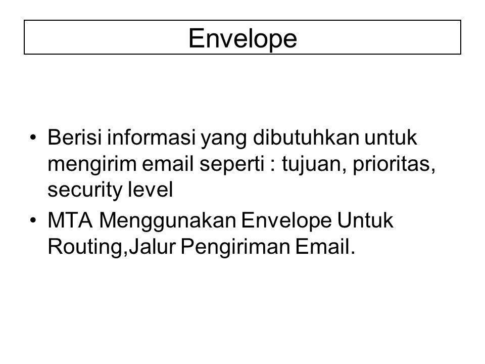 Berisi informasi yang dibutuhkan untuk mengirim email seperti : tujuan, prioritas, security level MTA Menggunakan Envelope Untuk Routing,Jalur Pengiriman Email.
