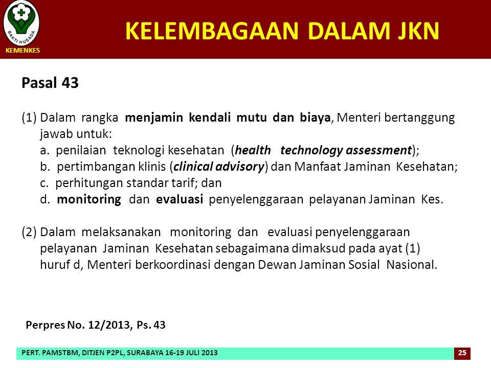 Pasal 43 (1)Dalam rangka menjamin kendali mutu dan biaya, Menteri bertanggung jawab untuk: a. penilaian teknologi kesehatan (health technology assessm