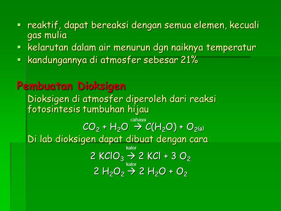  reaktif, dapat bereaksi dengan semua elemen, kecuali gas mulia  kelarutan dalam air menurun dgn naiknya temperatur  kandungannya di atmosfer sebes