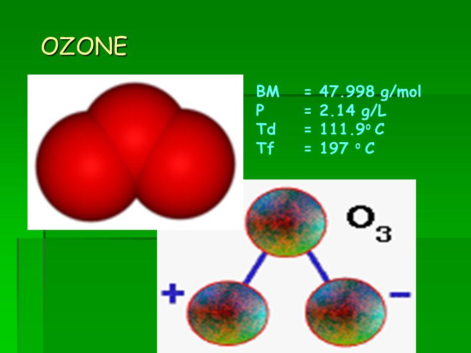 OZONE BM= 47.998 g/mol Ρ = 2.14 g/L Td= 111.9 o C Tf= 197 o C