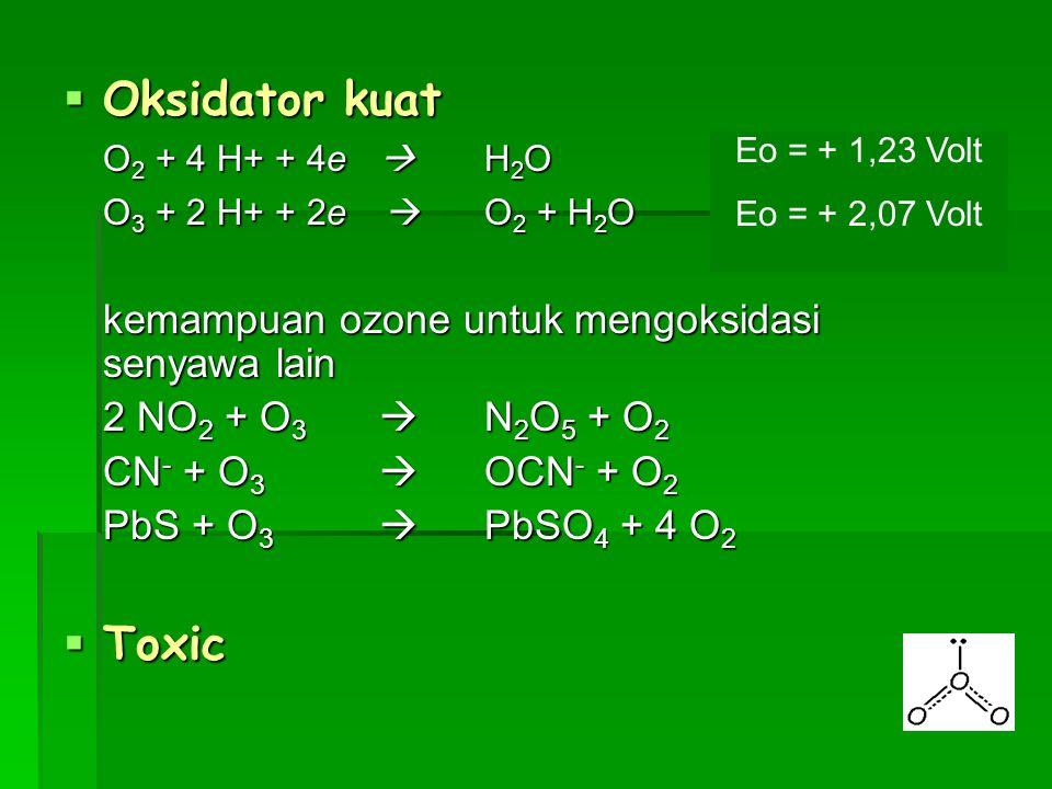  Oksidator kuat O 2 + 4 H+ + 4e  H 2 O O 3 + 2 H+ + 2e  O 2 + H 2 O kemampuan ozone untuk mengoksidasi senyawa lain 2 NO 2 + O 3  N 2 O 5 + O 2 CN
