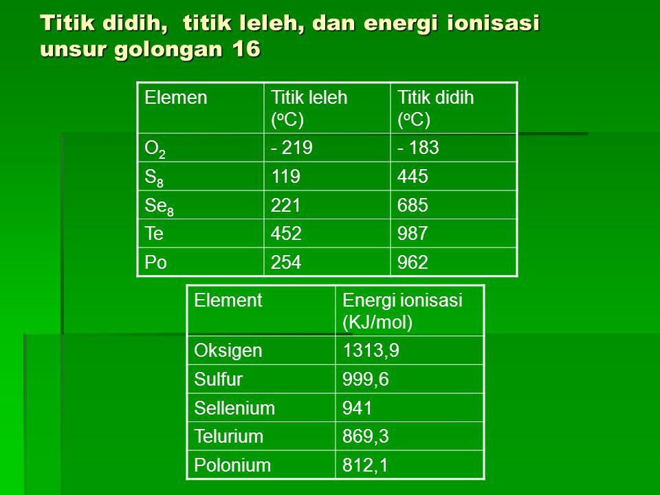 Titik didih, titik leleh, dan energi ionisasi unsur golongan 16 ElemenTitik leleh ( o C) Titik didih ( o C) O2O2 - 219- 183 S8S8 119445 Se 8 221685 Te