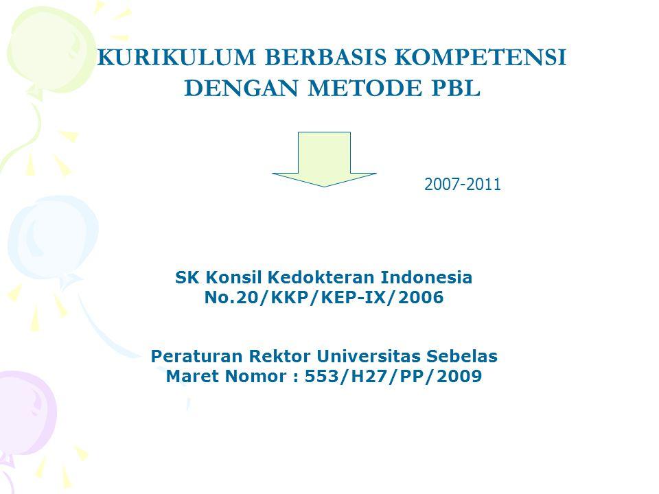 KURIKULUM BERBASIS KOMPETENSI DENGAN METODE PBL SK Konsil Kedokteran Indonesia No.20/KKP/KEP-IX/2006 Peraturan Rektor Universitas Sebelas Maret Nomor : 553/H27/PP/2009 2007-2011