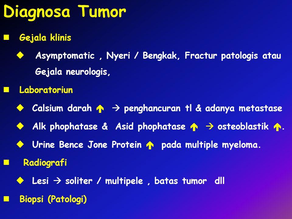 Diagnosa Tumor Gejala klinis  Asymptomatic, Nyeri / Bengkak, Fractur patologis atau Gejala neurologis, Laboratoriun  Calsium darah   penghancuran tl & adanya metastase  Alk phophatase & Asid phophatase   osteoblastik .