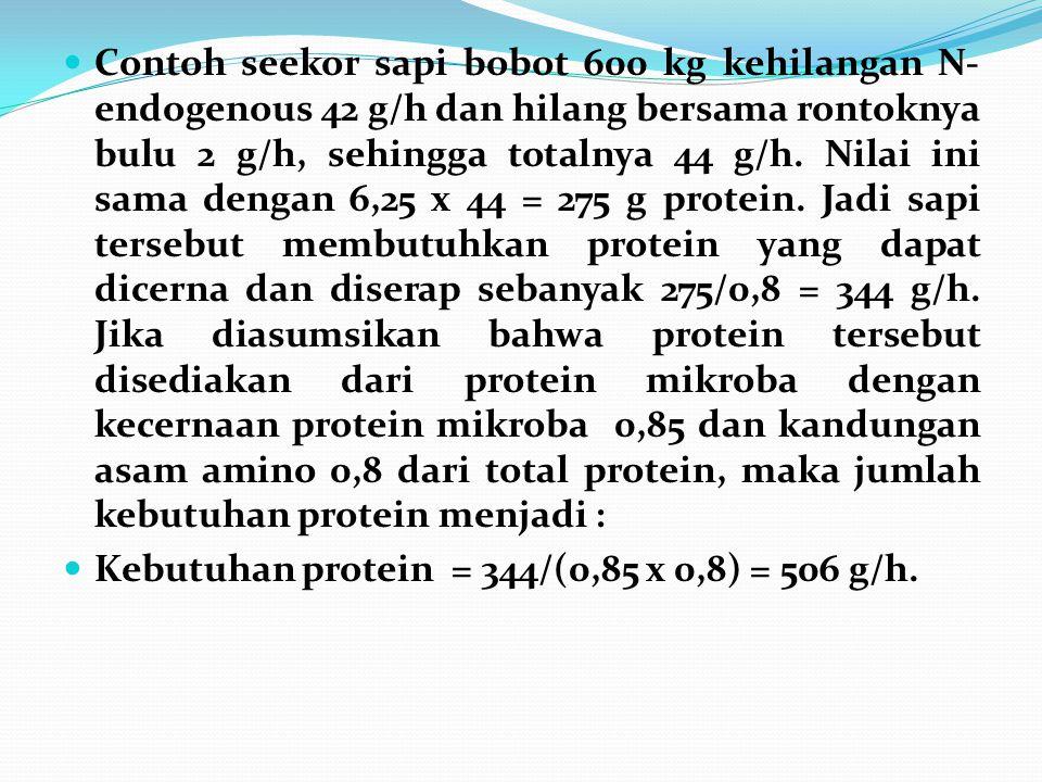 Contoh seekor sapi bobot 600 kg kehilangan N- endogenous 42 g/h dan hilang bersama rontoknya bulu 2 g/h, sehingga totalnya 44 g/h. Nilai ini sama deng