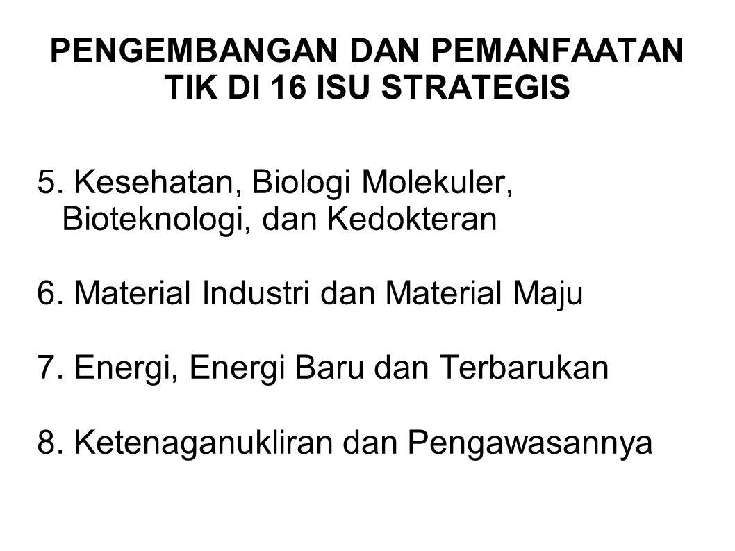 PENGEMBANGAN DAN PEMANFAATAN TIK DI 16 ISU STRATEGIS 5. Kesehatan, Biologi Molekuler, Bioteknologi, dan Kedokteran 6. Material Industri dan Material M
