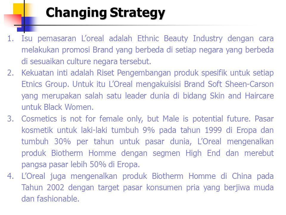 Changing Strategy 1.Isu pemasaran L'oreal adalah Ethnic Beauty Industry dengan cara melakukan promosi Brand yang berbeda di setiap negara yang berbeda