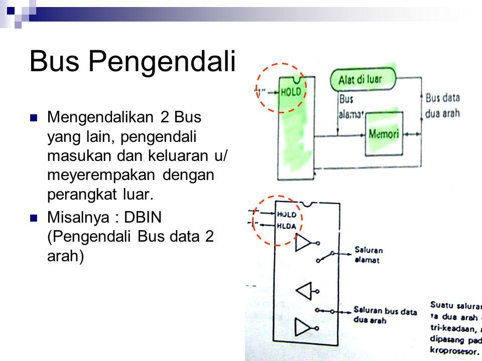 Bus Pengendali Mengendalikan 2 Bus yang lain, pengendali masukan dan keluaran u/ meyerempakan dengan perangkat luar. Misalnya : DBIN (Pengendali Bus d