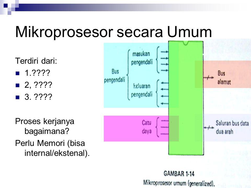 Mikroprosesor secara Umum Terdiri dari: 1.???? 2, ???? 3. ???? Proses kerjanya bagaimana? Perlu Memori (bisa internal/ekstenal).