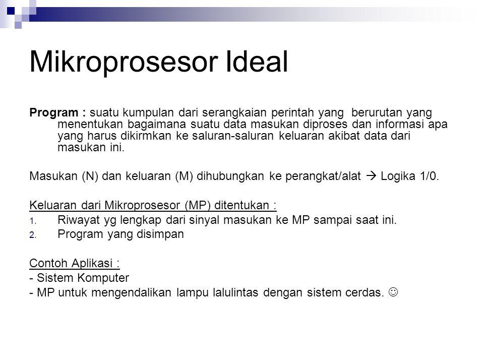 Mikroprosesor Ideal Program : suatu kumpulan dari serangkaian perintah yang berurutan yang menentukan bagaimana suatu data masukan diproses dan inform