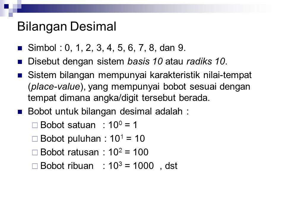 Bilangan Desimal Simbol : 0, 1, 2, 3, 4, 5, 6, 7, 8, dan 9.