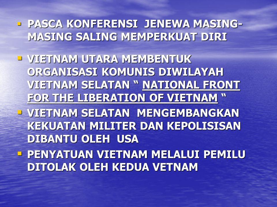  PASCA KONFERENSI JENEWA MASING- MASING SALING MEMPERKUAT DIRI  VIETNAM UTARA MEMBENTUK ORGANISASI KOMUNIS DIWILAYAH VIETNAM SELATAN NATIONAL FRONT FOR THE LIBERATION OF VIETNAM  VIETNAM SELATAN MENGEMBANGKAN KEKUATAN MILITER DAN KEPOLISISAN DIBANTU OLEH USA  PENYATUAN VIETNAM MELALUI PEMILU DITOLAK OLEH KEDUA VETNAM