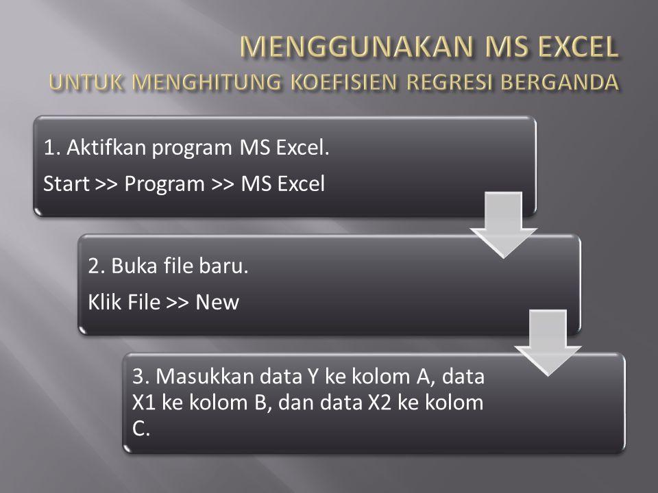 1. Aktifkan program MS Excel. Start >> Program >> MS Excel 2. Buka file baru. Klik File >> New 3. Masukkan data Y ke kolom A, data X1 ke kolom B, dan