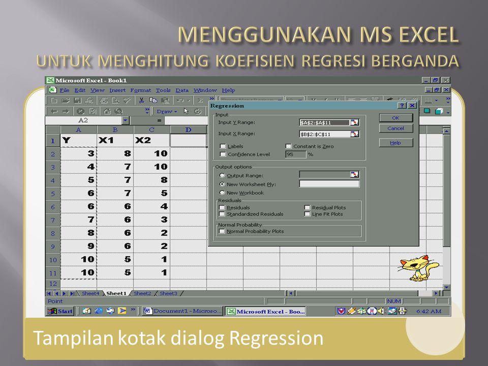 Tampilan kotak dialog Regression