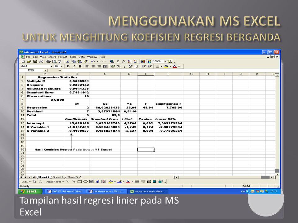Tampilan hasil regresi linier pada MS Excel