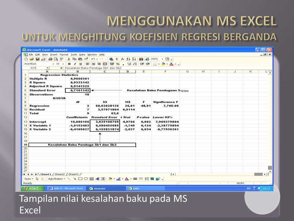 Tampilan nilai kesalahan baku pada MS Excel