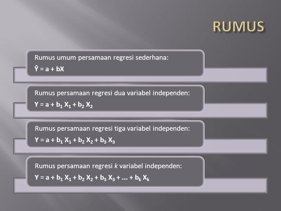 Rumus umum persamaan regresi sederhana: Ŷ = a + bX Rumus persamaan regresi dua variabel independen: Y = a + b1 X1 + b 2 X2 Rumus persamaan regresi tig