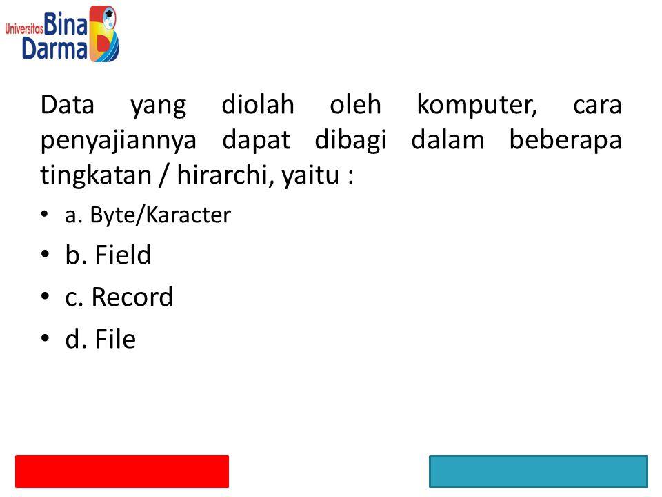 Data yang diolah oleh komputer, cara penyajiannya dapat dibagi dalam beberapa tingkatan / hirarchi, yaitu : a. Byte/Karacter b. Field c. Record d. Fil