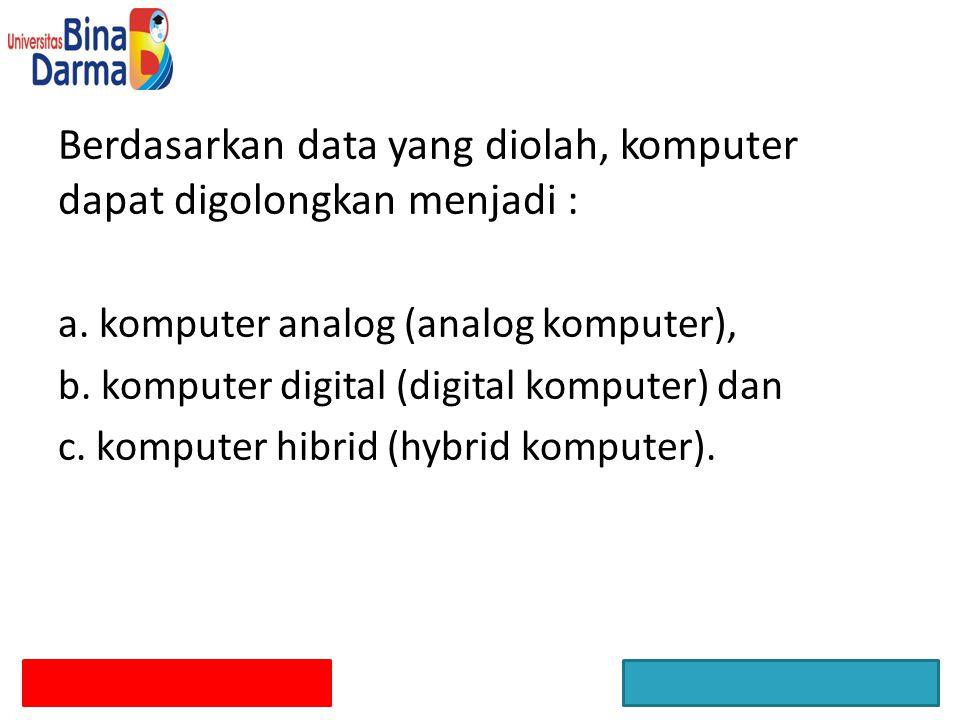 Berdasarkan data yang diolah, komputer dapat digolongkan menjadi : a. komputer analog (analog komputer), b. komputer digital (digital komputer) dan c.