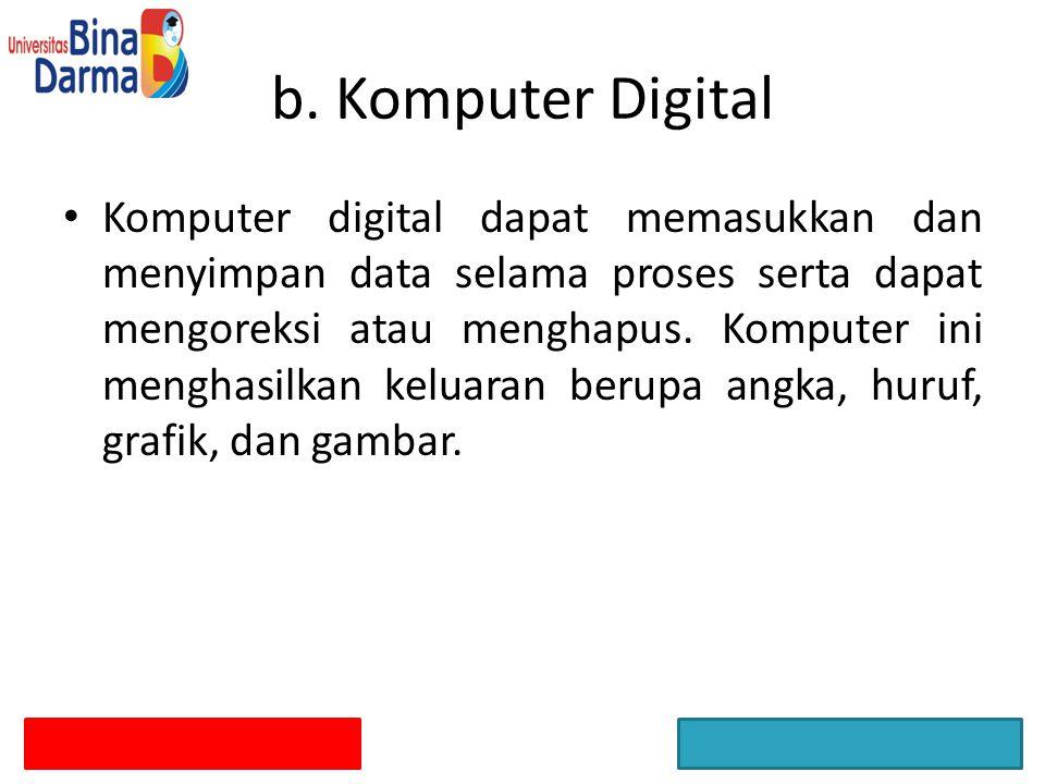 Komputer digital dapat memasukkan dan menyimpan data selama proses serta dapat mengoreksi atau menghapus. Komputer ini menghasilkan keluaran berupa an