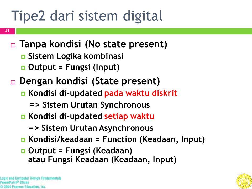Tipe2 dari sistem digital 11  Tanpa kondisi (No state present)  Sistem Logika kombinasi  Output = Fungsi (Input)  Dengan kondisi (State present)  Kondisi di-updated pada waktu diskrit => Sistem Urutan Synchronous  Kondisi di-updated setiap waktu => Sistem Urutan Asynchronous  Kondisi/keadaan = Function (Keadaan, Input)  Output = Fungsi (Keadaan) atau Fungsi Keadaan (Keadaan, Input)