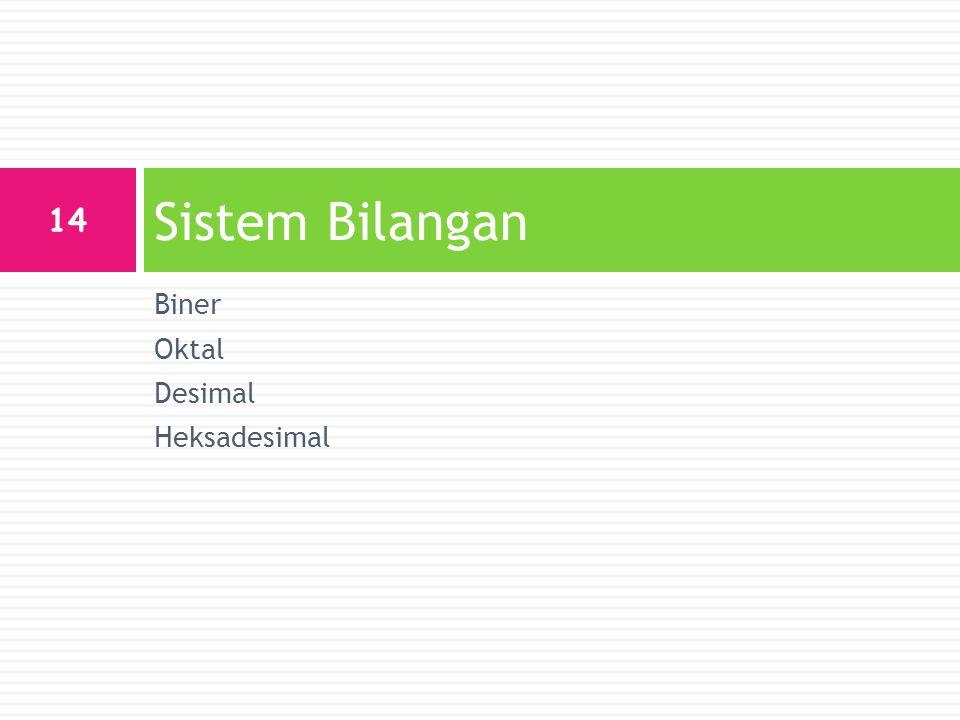 Biner Oktal Desimal Heksadesimal Sistem Bilangan 14