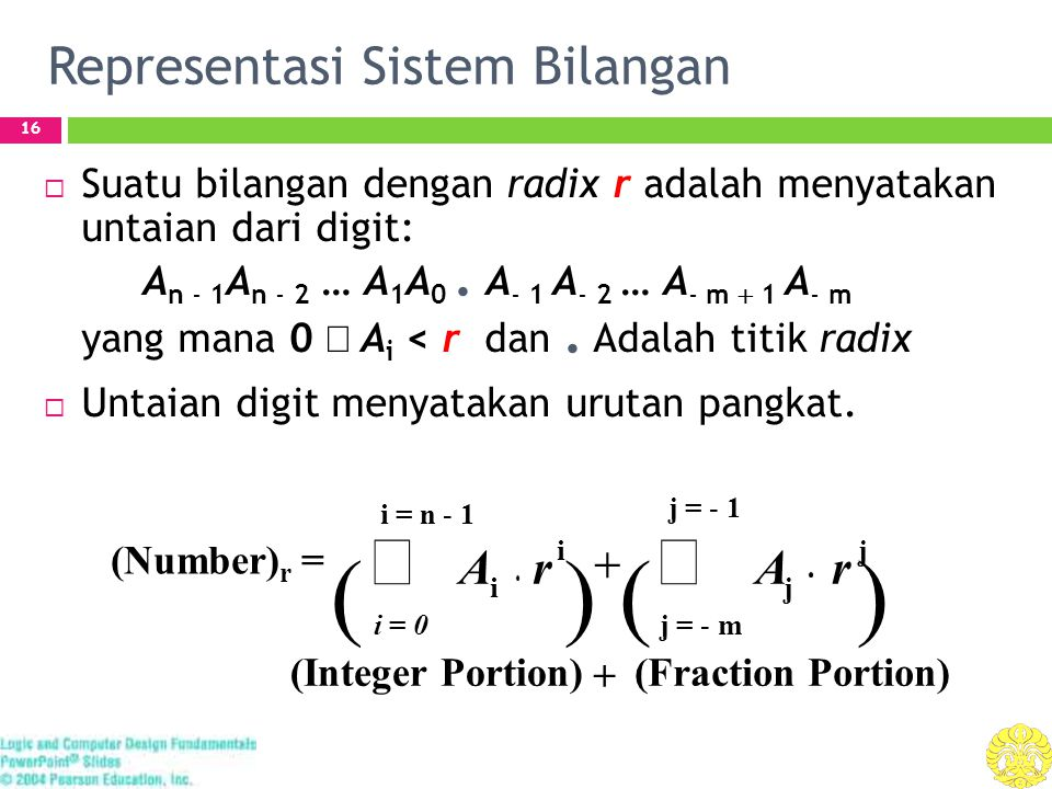 Representasi Sistem Bilangan 16  Suatu bilangan dengan radix r adalah menyatakan untaian dari digit: A n - 1 A n - 2 … A 1 A 0.