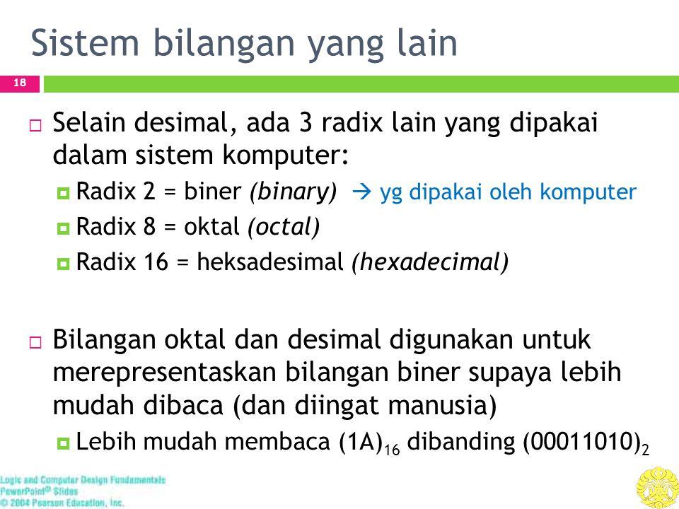 Sistem bilangan yang lain 18  Selain desimal, ada 3 radix lain yang dipakai dalam sistem komputer:  Radix 2 = biner (binary)  yg dipakai oleh komputer  Radix 8 = oktal (octal)  Radix 16 = heksadesimal (hexadecimal)  Bilangan oktal dan desimal digunakan untuk merepresentaskan bilangan biner supaya lebih mudah dibaca (dan diingat manusia)  Lebih mudah membaca (1A) 16 dibanding (00011010) 2