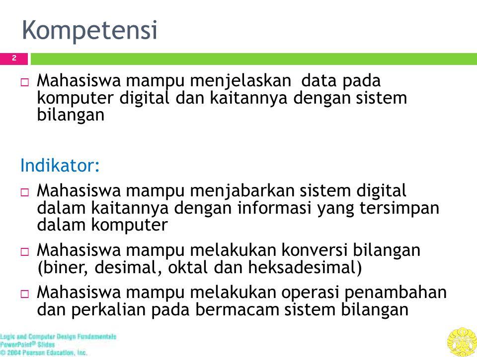 Kompetensi 2  Mahasiswa mampu menjelaskan data pada komputer digital dan kaitannya dengan sistem bilangan Indikator:  Mahasiswa mampu menjabarkan si