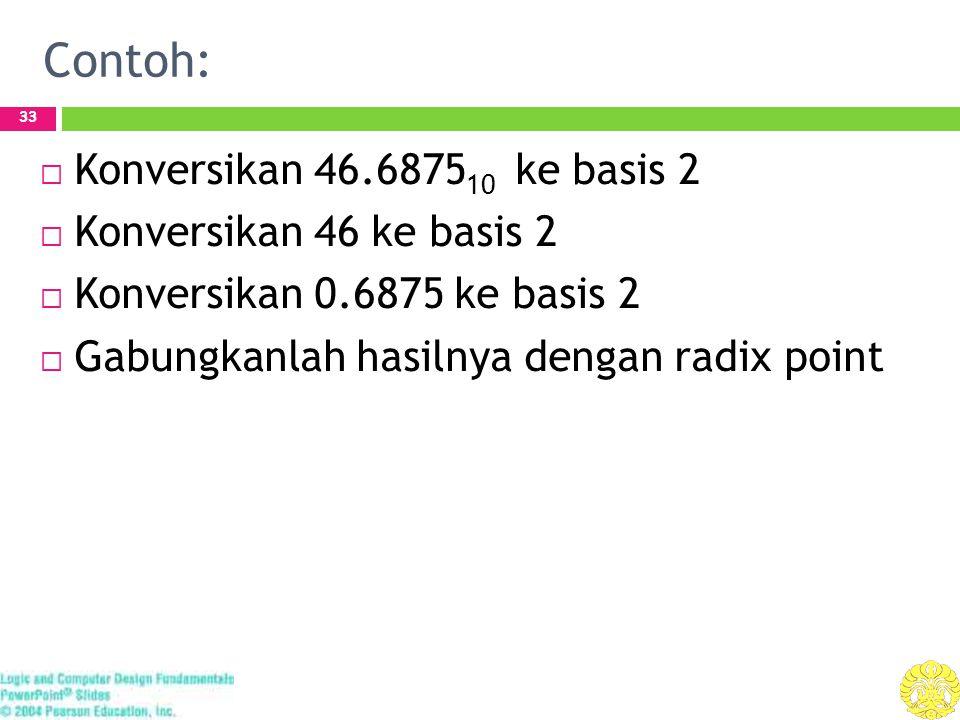 Contoh: 33  Konversikan 46.6875 10 ke basis 2  Konversikan 46 ke basis 2  Konversikan 0.6875 ke basis 2  Gabungkanlah hasilnya dengan radix point
