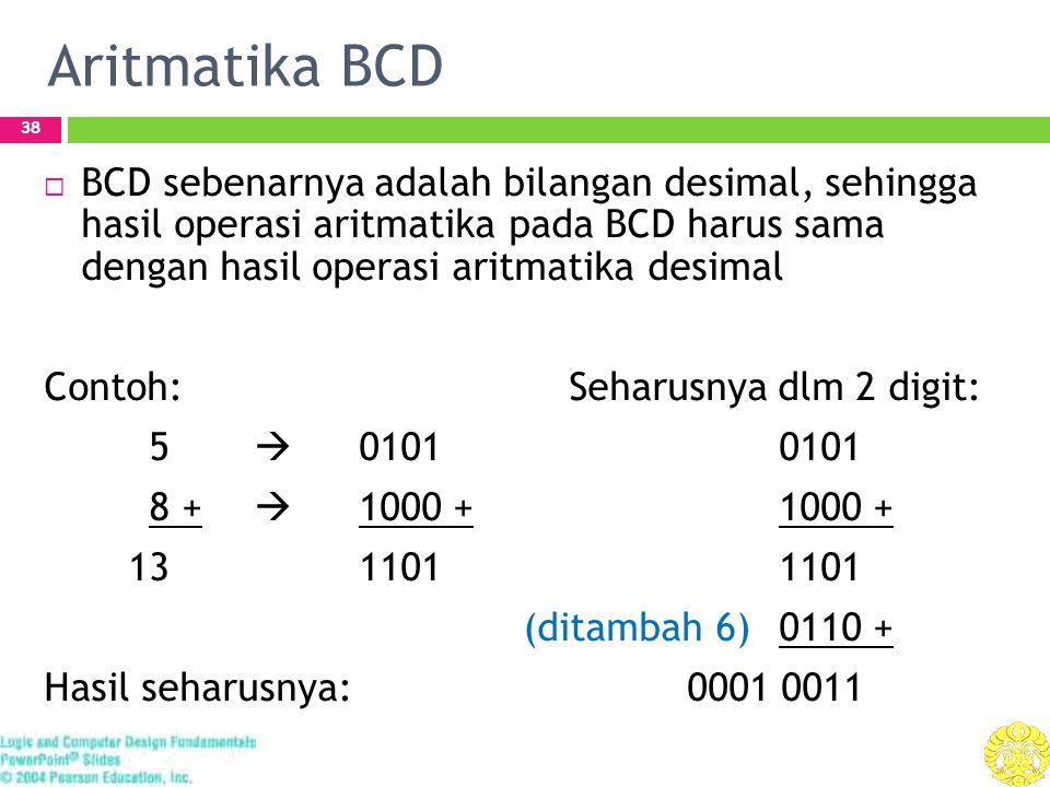 Aritmatika BCD 38  BCD sebenarnya adalah bilangan desimal, sehingga hasil operasi aritmatika pada BCD harus sama dengan hasil operasi aritmatika desimal Contoh:Seharusnya dlm 2 digit: 5  01010101 8 +  1000 +1000 + 131101 1101 (ditambah 6)0110 + Hasil seharusnya: 0001 0011