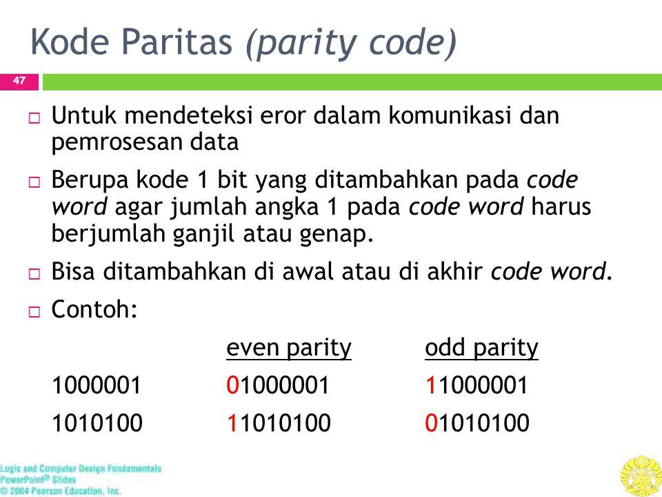 Kode Paritas (parity code) 47  Untuk mendeteksi eror dalam komunikasi dan pemrosesan data  Berupa kode 1 bit yang ditambahkan pada code word agar jumlah angka 1 pada code word harus berjumlah ganjil atau genap.