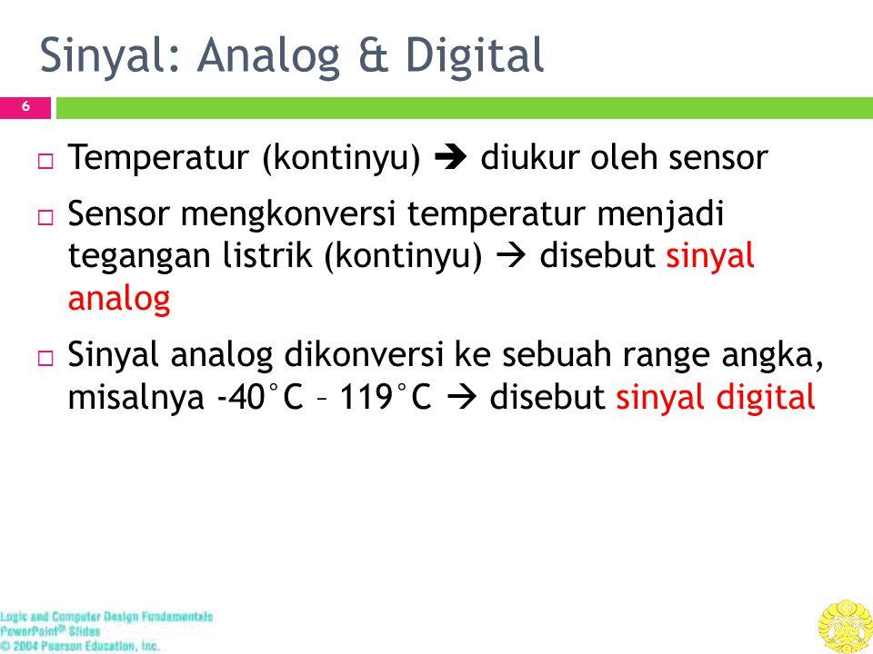 Sinyal: Analog & Digital 6  Temperatur (kontinyu)  diukur oleh sensor  Sensor mengkonversi temperatur menjadi tegangan listrik (kontinyu)  disebut sinyal analog  Sinyal analog dikonversi ke sebuah range angka, misalnya -40°C – 119°C  disebut sinyal digital