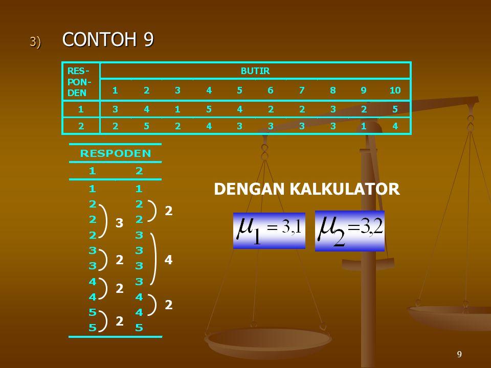 9 3) CONTOH 9 DENGAN KALKULATOR 3 2 2 2 2 4 2