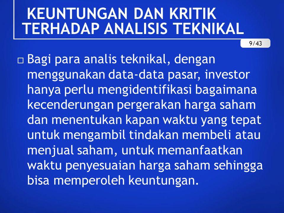  Bagi para analis teknikal, dengan menggunakan data-data pasar, investor hanya perlu mengidentifikasi bagaimana kecenderungan pergerakan harga saham