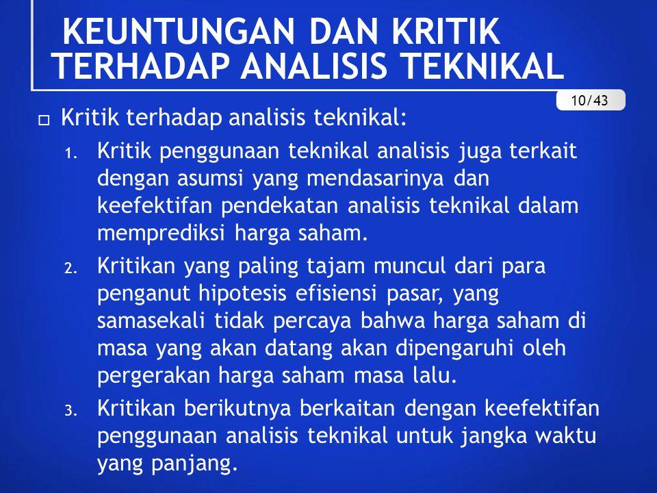  Kritik terhadap analisis teknikal: 1. Kritik penggunaan teknikal analisis juga terkait dengan asumsi yang mendasarinya dan keefektifan pendekatan an
