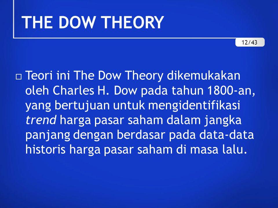 THE DOW THEORY  Teori ini The Dow Theory dikemukakan oleh Charles H. Dow pada tahun 1800-an, yang bertujuan untuk mengidentifikasi trend harga pasar