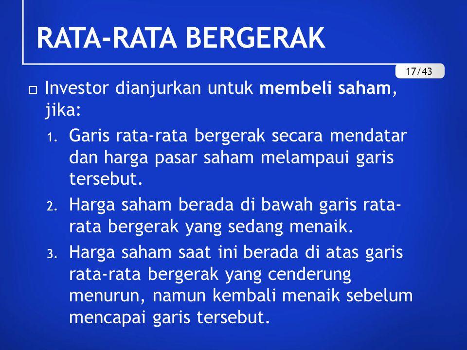  Investor dianjurkan untuk membeli saham, jika: 1. Garis rata-rata bergerak secara mendatar dan harga pasar saham melampaui garis tersebut. 2. Harga