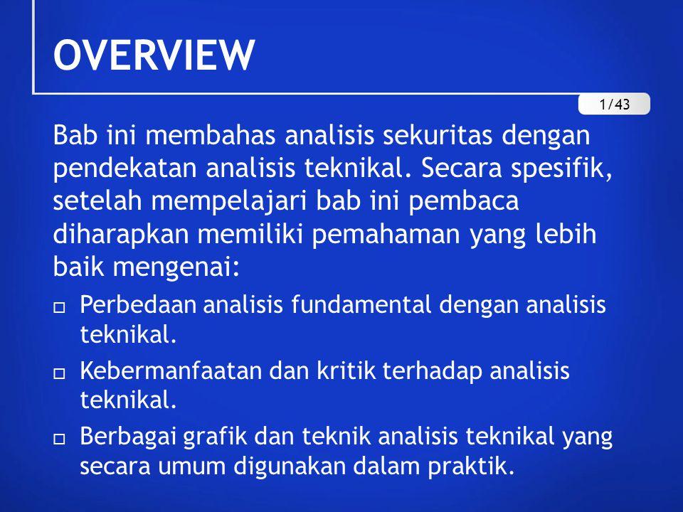 OVERVIEW Bab ini membahas analisis sekuritas dengan pendekatan analisis teknikal. Secara spesifik, setelah mempelajari bab ini pembaca diharapkan memi