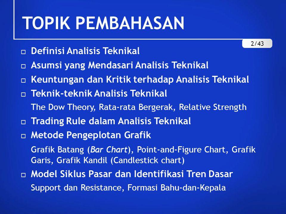 TOPIK PEMBAHASAN  Definisi Analisis Teknikal  Asumsi yang Mendasari Analisis Teknikal  Keuntungan dan Kritik terhadap Analisis Teknikal  Teknik-te
