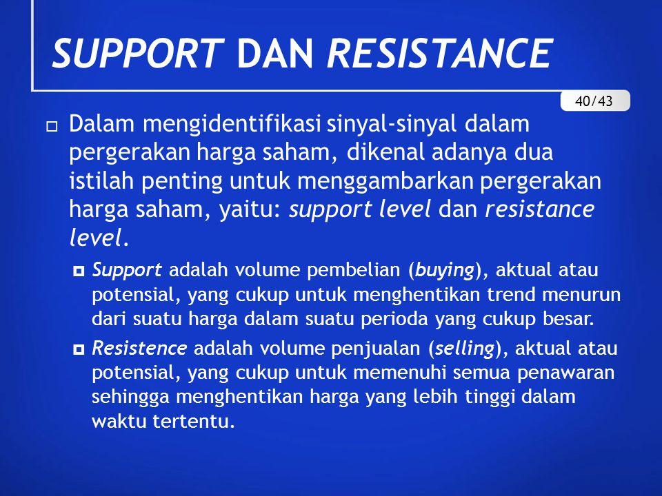 SUPPORT DAN RESISTANCE  Dalam mengidentifikasi sinyal-sinyal dalam pergerakan harga saham, dikenal adanya dua istilah penting untuk menggambarkan per