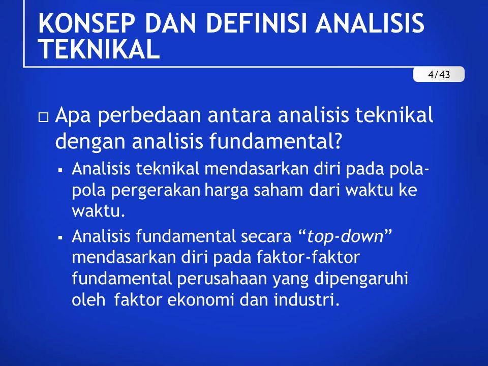  Apa perbedaan antara analisis teknikal dengan analisis fundamental?  Analisis teknikal mendasarkan diri pada pola- pola pergerakan harga saham dari