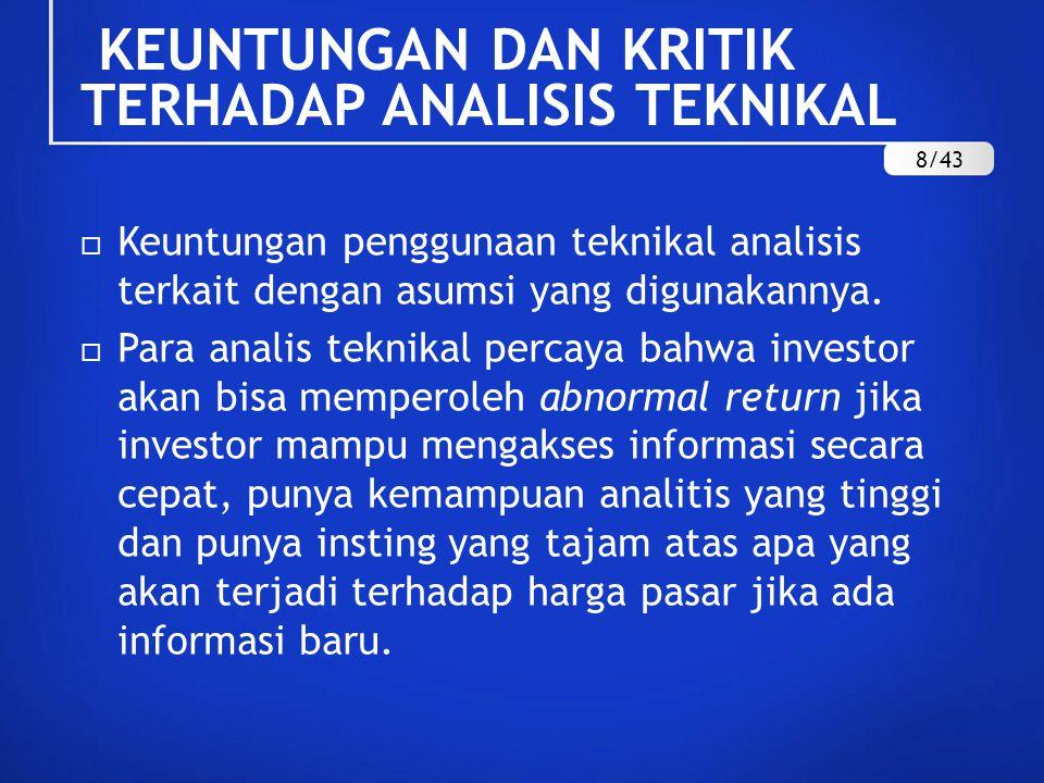 KEUNTUNGAN DAN KRITIK TERHADAP ANALISIS TEKNIKAL  Keuntungan penggunaan teknikal analisis terkait dengan asumsi yang digunakannya.  Para analis tekn