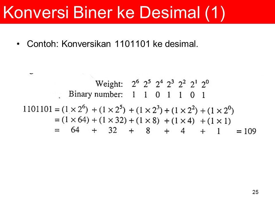 25 Konversi Biner ke Desimal (1) Contoh: Konversikan 1101101 ke desimal.