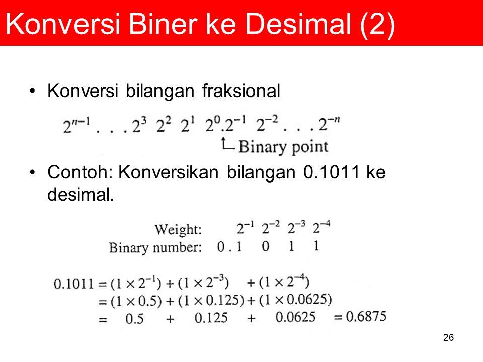 26 Konversi Biner ke Desimal (2) Konversi bilangan fraksional Contoh: Konversikan bilangan 0.1011 ke desimal.
