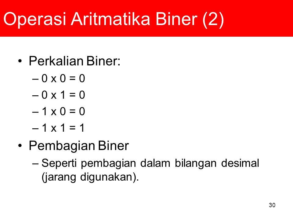 30 Operasi Aritmatika Biner (2) Perkalian Biner: –0 x 0 = 0 –0 x 1 = 0 –1 x 0 = 0 –1 x 1 = 1 Pembagian Biner –Seperti pembagian dalam bilangan desimal