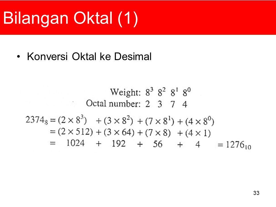 33 Bilangan Oktal (1) Konversi Oktal ke Desimal